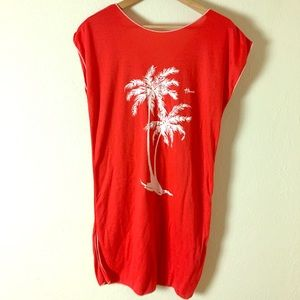 Other - Vintage 1970s-80s Red Hawaiian Swimsuit Cover-Up